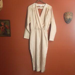 Vintage minimal open back silky midi dress M